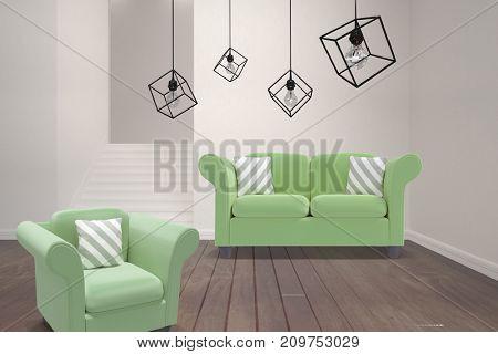 3d image of pendant light against white background against empty room