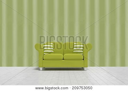 3d illustration of green sofa with cushions on floor against background