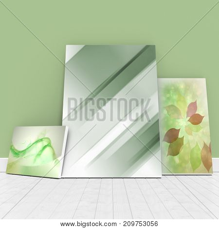 Digitally generated image of whiteboards against green wall against green abstract design