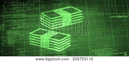 Cash against blue matrix and codes