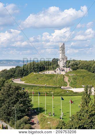 GDANSK, POLAND - 16 SEPTEMBER: Westerplatte Monument on 16 September 2017 in Gdansk, Poland. The monument was opened in 1966.