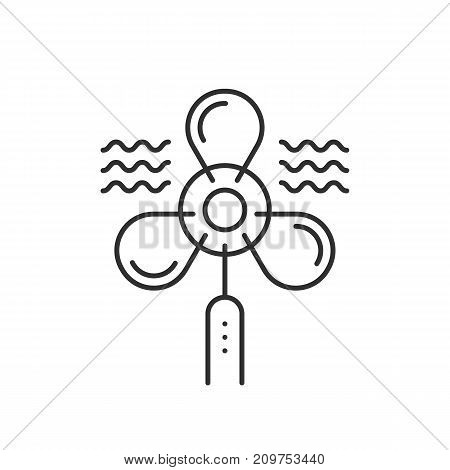 ventilator thin line black icon. concept of simple shape, ventilate, turbine, hot, rotor, circulation, blowhole. flat outline style trend modern logotype design vector illustration on white background