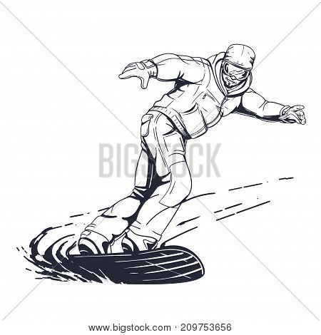 Snowboarder dynamic illustration in hand drawn style