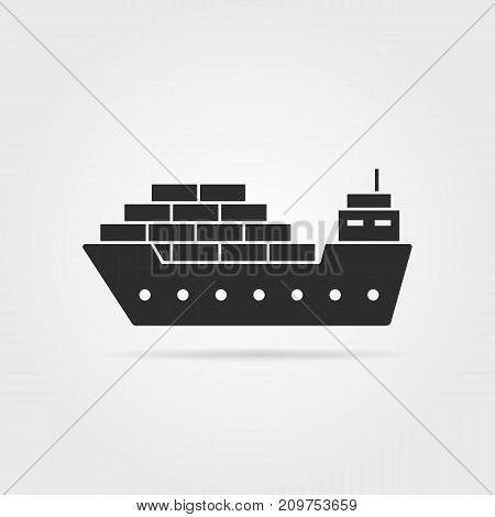 black cargo ship icon with shadow. concept of seaport emblem, voyage, shipbuilding, trip, anchor, maritime. flat style trend modern logotype template design vector illustration on gray background