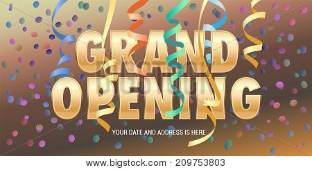 Grand opening vector banner with paper garlands. Template festive design element for opening ceremony can be used as background or poster
