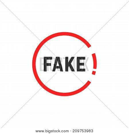simple red fake sign. concept of law, falsehood, falseness, sham, faker, no doubt, hazard, untrue, spurious, word. flat style trend modern logo design vector illustration on white background