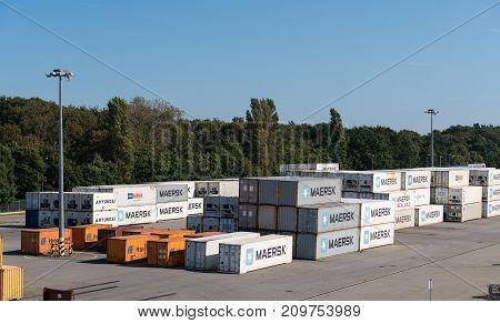 GDANSK, POLAND - 16 SEPTEMBER: Maersk shipping containers on 16 September 2017 in Gdansk, Poland. The company was founded in 1904.