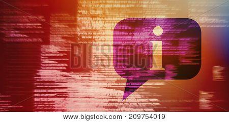 3D speech bubble against blue blurred texts