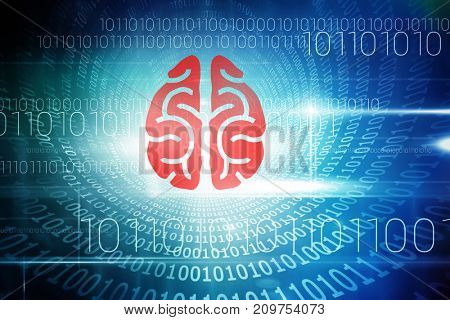 3D brain against spiral of shiny binary code