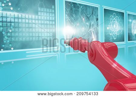 3D red robotic hand with bulb  against screens with blue interface