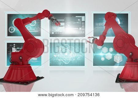 3D red robot arm with claw against composite image of different application interface