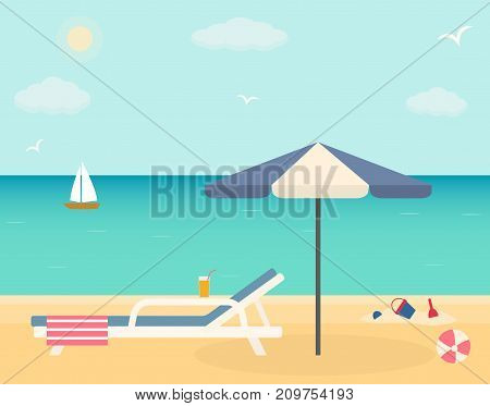 Beach chair with umbrella on sandy beach. Flat style vector illustration.