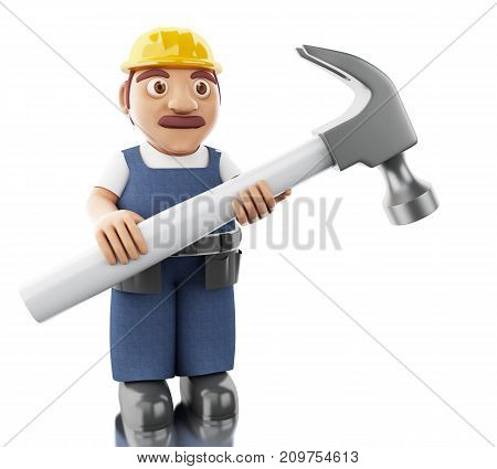 3D Worker With Helmet And Huge Hammer