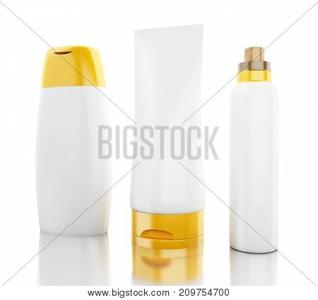 3D Set Of Cosmetic Bottles. Template For Mock Up Your Design