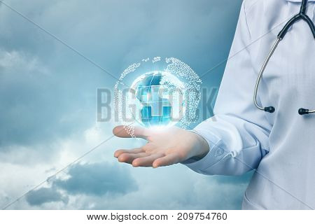 Doctor Shows The Network Of Medical Health .