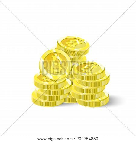 Bitcoins, a stack of isolation coins. Digital future Crypto currency, mining, electronic payments. Vector illustration.