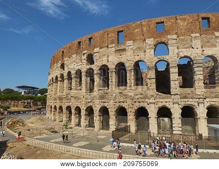 The Roman Colosseum, View From Piazza Del Colosseo Square. Lazio.