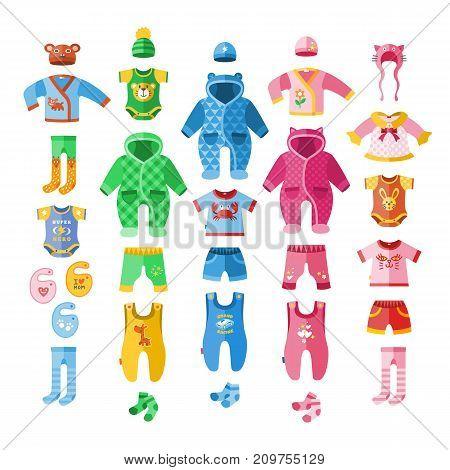 Baby infant vector illustration clothes textile icons set design fabric dress child garment wear set.