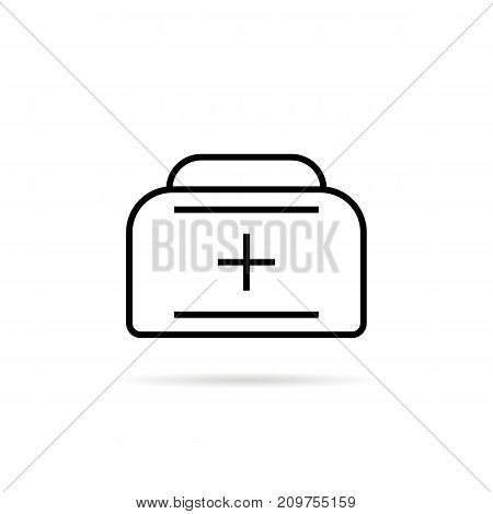 black thin line medical case. concept of valise with handle emblem, lifeguard, support, sick, briefcase. flat linear style trend modern logotype graphic design vector illustration on white background