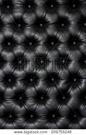 Luxurious black leather texture furniture with buttons.
