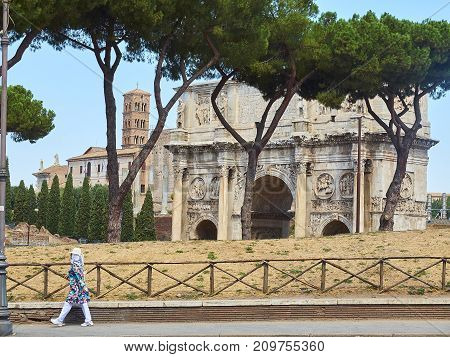 Arch Of Constantine And Santa Francesca Romana Bell Tower. Rome.