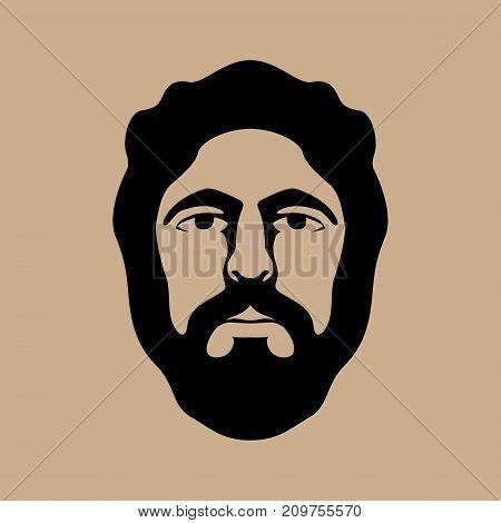 hipster men head face vector illustration front side