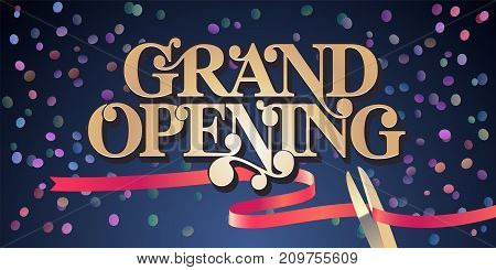 Grand opening vector illustration background with golden lettering sign and scissors cutting ribbon. Template banner flyer for opening ceremony