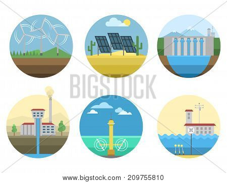 Generation energy types power plant icons vector set renewable alternative, solar and tidal, wind and geothermal, biomass and wave illustration. Conceptual sustainable resource station generation.