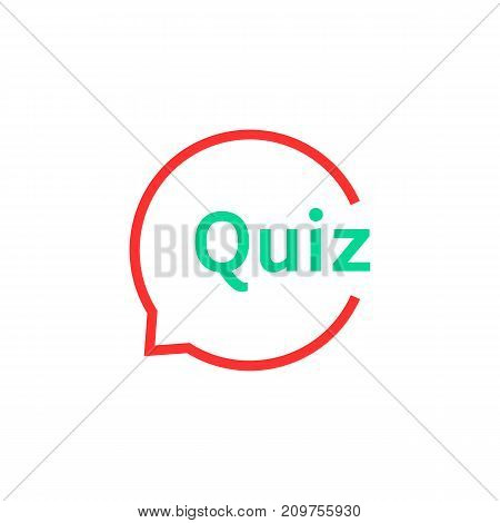 linear quiz speech bubble. concept of solution, survey, choose, game time, inquirer, issue, problem, solve. flat style trend modern logotype design art vector illustration on white background