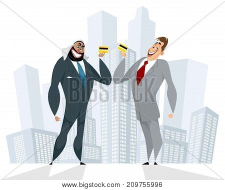 Vector illustration of successful cooperation of businessmen