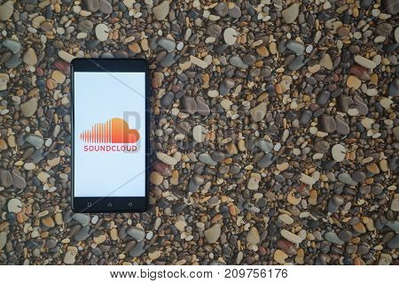 Los Angeles, USA, october 18, 2017: Soundcloud logo on smartphone on background of small stones
