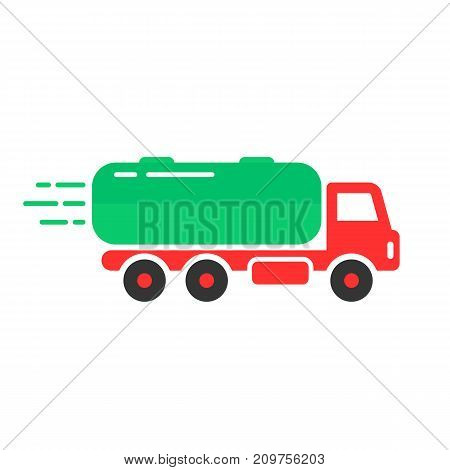 colored tank car icon. concept of distribution, large van, petrol haulage, engine, automotive, shipment, drive, marketing. flat style trend logotype design vector illustration on white background