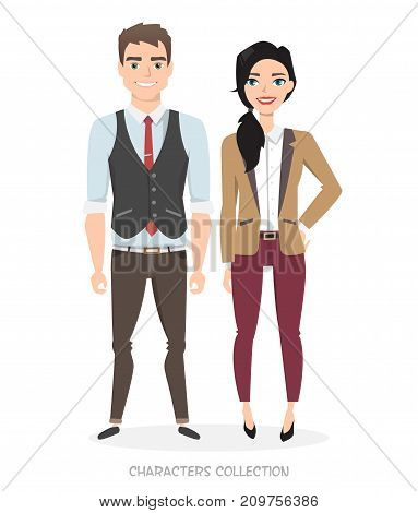 A couple of young characters in business suits. Unisex Style in the modern world. Modern fashion. Gender equality in business and career.
