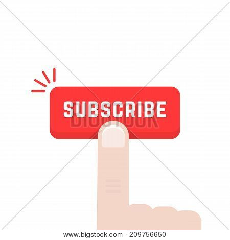 forefinger on subscribe button. concept of data feed, stream, journal, ad mark, support, sub, navigation, newspaper. flat style trend modern graphic art design vector illustration on white background