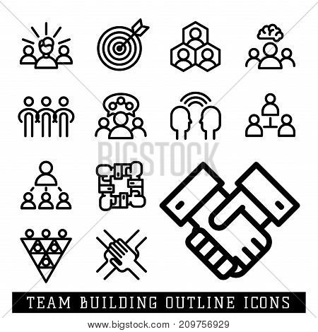 Vector business team building people teambuilding outline icons concepts illustration trainings courses school teamwork. Tutorial science teambuilding development black white symbols.