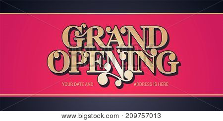 Grand opening vector background. Red ribbon cutting ceremony background design with gold color sign for flyer or banner for opening event