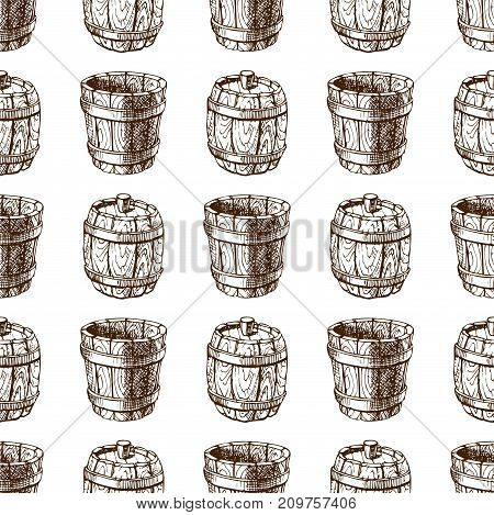 Wooden barrel vintage old style oak storage container seamless pattern retro liquid beverage fermenting distillery cargo drum lager vector illustration. Dark aged vine hoop beer cask drink.
