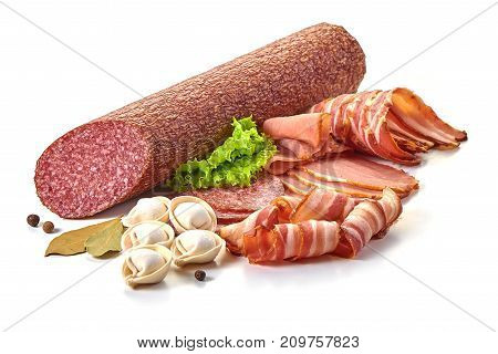 Sausage With Bacon And Herbs Isolated On White Background