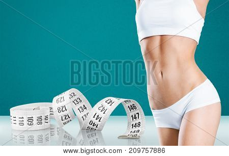 Female measuring body tape sport beautiful person