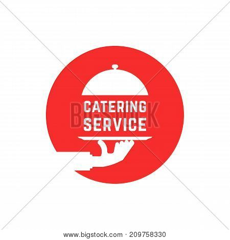 red round catering service logo. concept of outdoor event, luxury cookery, eat, cloche, waitress, fine dining. flat style trend modern logotype graphic design vector illustration on white background