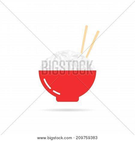 rice porridge with chopsticks. concept of sushi ingredient, feed, breakfast, dessert, onigiri, bon appetite, kasha. flat style trend modern logotype design vector illustration on white background