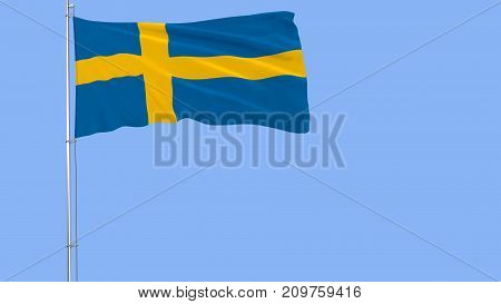 Flag of Sweden on a flagpole fluttering in the wind on blue background 3d rendering