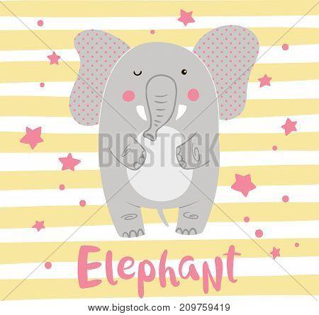 Cute cartoon elephant on a striped background. Vector illustration.