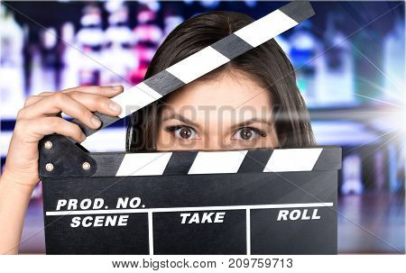 Young board woman film clap clapper clapperboard