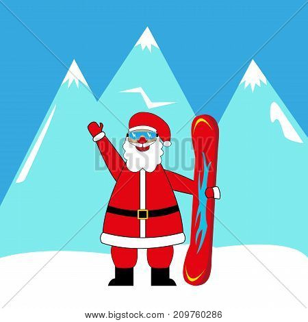 santa claus snowboarder in the mountains illustration