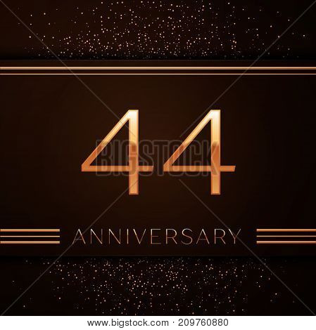 Realistic Forty four Years Anniversary Celebration Logotype. Golden numbers and golden confetti on brown background. Colorful Vector template elements for your birthday party