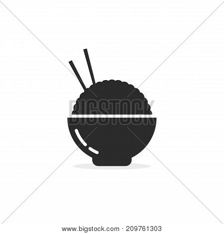 asian food in black bowl. concept of take away meal, foodie, korean gastronomy, dessert, vegetarian snack, delicious. flat style trend modern logotype design vector illustration on white background