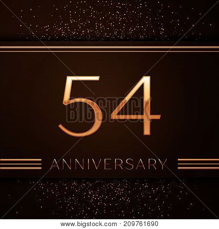 Realistic Fifty four Years Anniversary Celebration Logotype. Golden numbers and golden confetti on brown background. Colorful Vector template elements for your birthday party