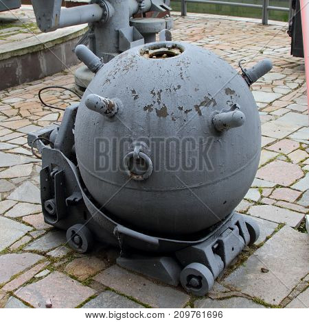 Moscow Russia - July 19 2017: Naval Anchor Mine model 1908/1939 (USSR) on grounds of weaponry exhibition in Victory Park at Poklonnaya Hill.