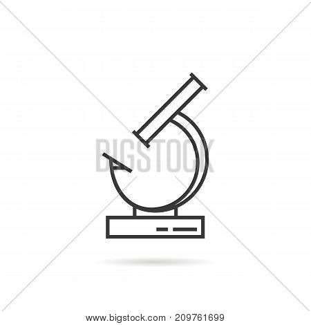 black thin line microscoppe icon. concept of bacterium survey, investigation, magnifier, discover minimal world, analyzing cell. flat modern logotype design vector illustration on white background